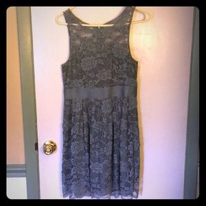 BB Dakota Blue Grey Lace Dress SZ 8